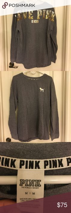"""PINK Victoria's Secret sequin tunic gray & gold M EUC tunic. Says """"LOVE PINK"""" across back in ombré sequins. Silver to gold. No flaws. Limited edition style. PINK Victoria's Secret Tops Tunics"""