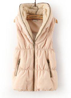 Beige Hooded Sleeveless Zipper Cotton Vest - Sheinside.com