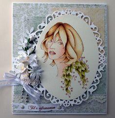 Annes lille hobbykrok: Sweet Pea,  Girl card, konfirmant, Distress Ink