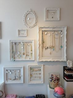 Lovely jewelry display frames created exclusively for Gaslamp Gift Gallery, loca. diy jewelry holder Lovely jewelry display frames created exclusively for Gaslamp Gift Gallery, loca. Diy Jewelry Unique, Diy Jewelry To Sell, Diy Jewelry Holder, Jewelry Stand, Diy Earring Holder, Wooden Jewelry, Diy Jewelry Wall, Jewelry Hanger, Gold Jewelry