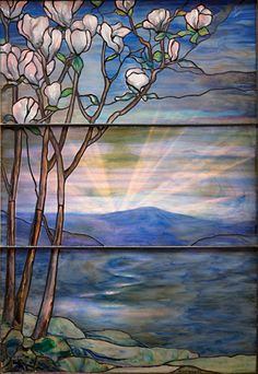 Tiffany Studios Magnolia Landscape Window, Provenance: Garden Museum Collection, Matsue, Japan, Sold for $177,000 #lctiffany #tiffanystudios #michaans http://www.michaans.com/events/2012/auct_11172012.php