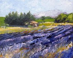 "French Lavender  Provence Palette Knife Painting  original on stretched canvas for sale, 8x10 "" also prints and greetings cards from http://chris-hobel.artistwebsites.com/"