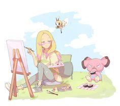 Mina ribombee and snubbull Pokemon Fairy, Pokemon Alola, Pokemon People, Nintendo Pokemon, Pokemon Comics, Pokemon Games, Cute Pokemon, Critical Role Fan Art, Kawaii Anime Girl