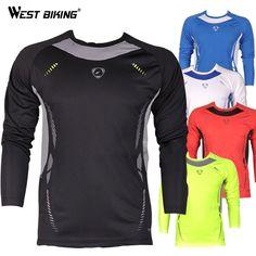 WEST BIKING Design Long Sleeve Men O-neck Cool T-shirts Male Bike Sports Quick Dry Shirts Bicycle Running Cycling Jerseys
