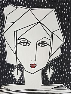 Juniper Briggs graphic style women figurative painting for sale at Kellee Wynne Studios