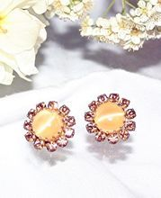 Vintage Yellow Faux Cat's-Eye and Rhinestone Clip Earrings