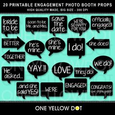 Engagement Photo Booth Props Printable