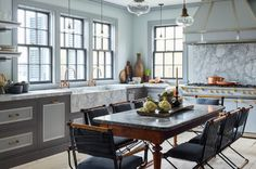 Marble accents add character to the kitchen.