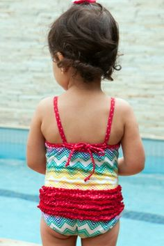 Zig-Zag Baby/Toddler One Piece Swimsuit - Lemons & Limes Kids Swimwear #babyonepiece #ruffles #polkadots #toddleronepiece #babyswimsuit #baby #toddler #rainbow #chevron #babybutt