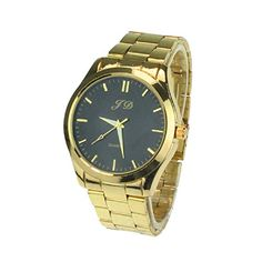 Tonsee New Luxury Men Gold Classic Analog Quartz Stainless Steel Wrist Watch(Black) - Jewelry For Her