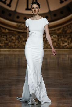 CUT OFF  SLEEVES --> OFF SHOULDER  Brides.com: . Wedding dress by Pronovias