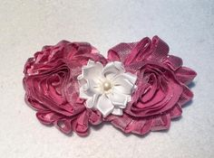 Metallic Pink Shabby Hair Clip with White by ItsEspecially4U