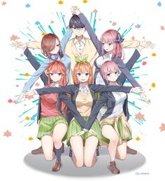 Read The Quintessential Quintuplets / no Hanayome full Manga chapters in English online! Chica Anime Manga, Otaku Anime, Kawaii Anime Girl, Anime Art Girl, Anime Friendship, Anime Family, Anime Group, Anime Base, Anime Characters