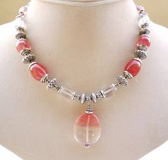 Cherry Quartz Pendant Necklace  Cherry Quartz by BigSkiesJewellery, $32.00
