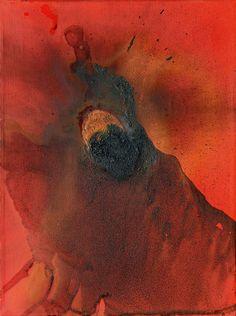 Otto Piene (German, 1928–2014), Run, 1978. Oil and traces of fire on canvas. 40 × 30 cm. via