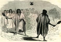 An old sketch from Peru in 1869 shows an interesting primitive ball game between two Conibos men; one man hits the circular plant to the other with wooden clubs.