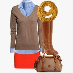 Light blue dress shirt, grey sweater, pink skirt, shawl and long boots for fall
