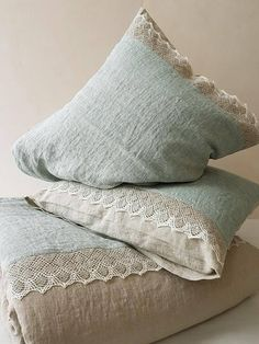 Lace linen BEDDING SET from washed heavier bluish green melange and natural flax linen - duvet cover, pillowcases - Queen, King duvet set Bed Linen Sets, Linen Duvet, Duvet Sets, Linen Pillows, Bed Linens, Body Pillows, Bed Sets, Floral Comforter, Neutral Bed Linen