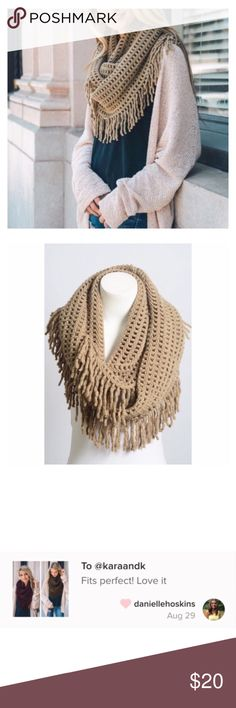 """Mocha Knit Infinity Scarf This listing is for a super soft and comfortable infinity scarf featuring lattice tassel. Feel warm and cozy with this baby on. Vamp up any outfit by throwing on a trendy scarf. 100% Acrylic. Dimension: 28""""x14"""". This listing is for Mocha. Accessories Scarves & Wraps"""