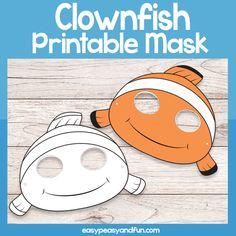 Printable Clown fish Mask Template – Easy Peasy and Fun Membership Printable Masks, Printable Paper, Printables, Fish Mask, Mask Template, Chicken Humor, Activities For Kids, Preschool Ideas, Paper Mask