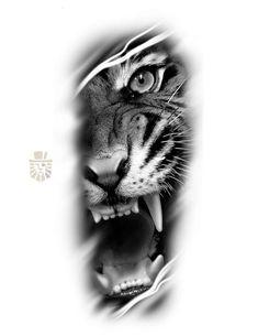 Tiger Eyes Tattoo, Tiger Tattoo Sleeve, Lion Tattoo Sleeves, Lion Head Tattoos, Tiger Tattoo Design, Tattoo Design Drawings, Best Sleeve Tattoos, Dope Tattoos, Tattoo Sketches