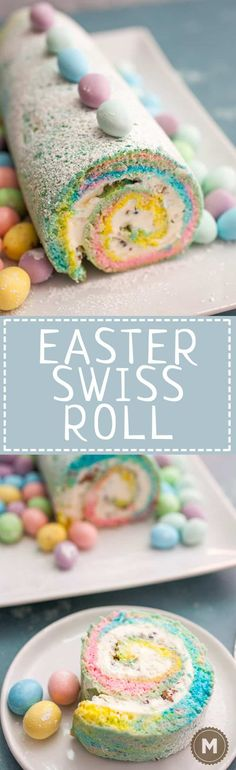 Easter Swiss Roll: A simple and colorful swiss roll filled with crushed candies and a cream cheese frosting. Easter Snacks, Easter Treats, Easter Recipes, Holiday Recipes, Easter Desserts, Easter Food, Dinner Recipes, Spring Treats, Easter Dinner