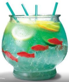 """Summer Fish Bowl Party Drink!   1/2 Cup Nerds Candy 1/2 Gallon Gold Fish Bowl 5oz Vodka 5oz Malibu Rum 3oz Blue Curaçao  6oz sweet & sour mix 16oz Pineapple Juice 16oz Sprite 3 slices each of lemon, lime & orange 4 Swedish gummy fish Sprinkle nerds on bottom of bowl as 'gravel'. Fill bowl with ice. Add remaining ingredients. Serve with 18"""" straws.  NOTE for kids use small fish bowls from dollar store & make a virgin blue Hawaiian with a few drops of blue food colouring & ice mixed in a…"""