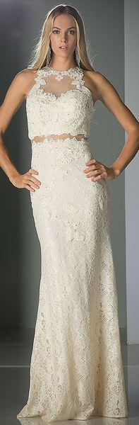 880c614ade8 Halter Lace Appliques Mock Two-Piece Slim Flare Prom Gown Cream   discountdressshop  lace