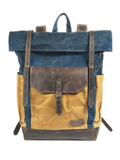 Navy blue waxed canvas backpack. Blue and yellow by InnesBags