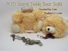 How to Make a Safe out of a Teddy Bear- Convert your favorite Teddy Bear into a Safe to store your valuables undetected. This adorable safe can house your jewelry, money, USB Flash drives or even be filled with treats! This particular teddy safe cost less than $3 to make! (Click on photo for more)