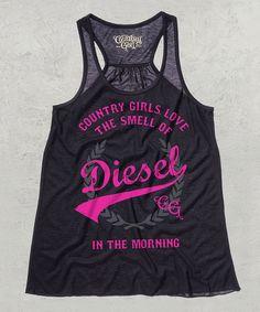 Black & Hot Pink 'Love Diesel' Racerback Tank by Country Girl #zulily #zulilyfinds