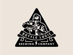 Bottle Logic Abandoned Logo Concept - Beer Scientist by Emrich Office - Dribbble Beer Logo Design, Badge Design, Logo Branding, Branding Design, Brand Identity, Logo Character, Wine Logo, Retro Logos, Vintage Logos