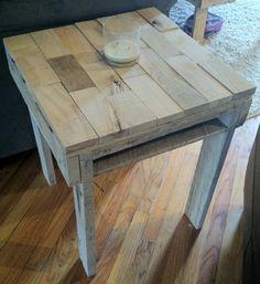 Rustic pallet end table side table reclaimed oak by Kustomwood, $129.99
