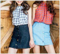 icecream12 - Button-Front Denim A-Line Mini Skirt