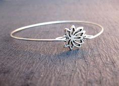 Silver Lotus Blossom Bangle Bracelet, Lotus Bracelet, Yoga Jewelry, Charm Bracelets, Meditation Bracelet, 7 Chakra Bracelet, Wish Bracelet