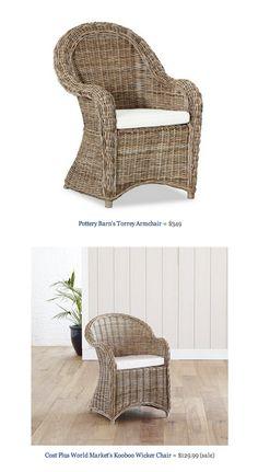COPY CAT CHIC FIND: Pottery Barn's Torrey Armchair VS Cost Plus World Market's Kooboo Wicker Chair