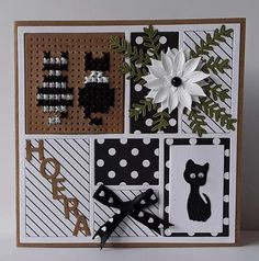 Labels, Cat Cards, Marianne Design, Flower Cards, Collages, Stampin Up, Birthday Cards, Dog Cat, Have Fun