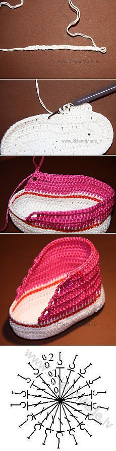 "Zapaticos bebe ""booties baby slippers - no pattern just picture image. But you see how the bottom and sides are made and easy to see how the rest would be Knitting For Kids, Baby Knitting Patterns, Crochet For Kids, Crochet Patterns, Crochet Motifs, Crochet Stitches, Knit Crochet, Crochet Hats, Crochet Baby Booties"