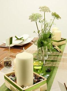 Grün braune #Tischdekoration, tolle Dekoideen für deine # ...