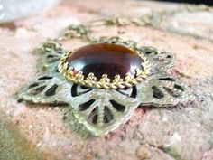 Winter Flower of Vintage Amber Fusion German by rosescreativity, $40.00