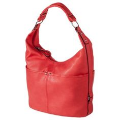 """Merona® Hobo Handbag - Red   get it at Target.   Several beautiful colors avail.   Only $29.99.  Shell Material: Polyurethane  Liner Material: Polyester  Closure Style: Zip Closure  Compartment details: Interior zip pocket, Multiple exterior compartments  Handle Type: Shoulder Strap  Size: 10."""" H x 14.""""W x 6.""""D"""