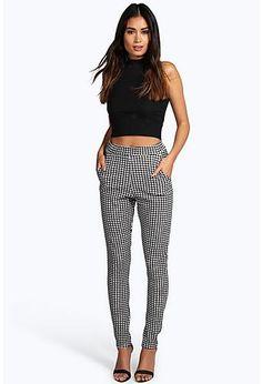 1f1b914f0df671 Catarina Monochrome Gingham Skinny Trousers White Wide Leg Pants