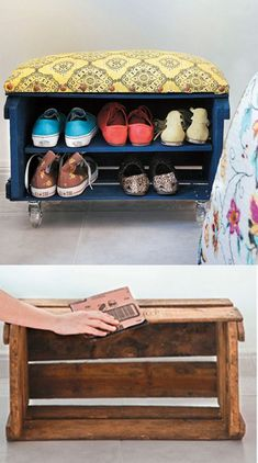 a painted crate to organize shoes and double as a sitting stool