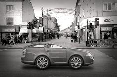 Weird squashy car on a street. #Photoshop