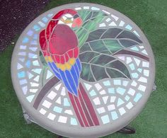 Positively Brilliant Parrot Mosaic Stepping Stone by HippMosaics