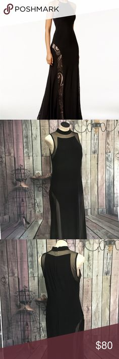 Black Mesh Gown This is from my own personal collection. I got so many compliments the 1 time I wore it. I've lost so much weight it doesn't fit like it deserves. Sexy and sophisticated. Floor length. Zippered back. Nude underneath. Cover is meant to show fit, not actual dress style. Same brand. EUC Nightway Dresses Wedding