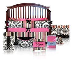 CUSTOM BOUTIQUE BABY BEDDING - Hot Pink Damask Polka Dot - Sophia 5 Pc Crib Bedding Set by Sofia Bedding, http://www.amazon.com/dp/B009D2PW68/ref=cm_sw_r_pi_dp_SA6.qb1V6BW6B