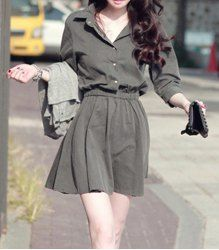 $9.01 Casual Turn-Down Collar Solid Color Waisted Button 3/4 Sleeves Pleated Dress