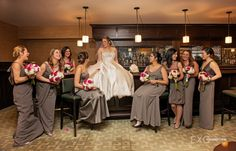 Vera Wang bridesmaids dresses and white and pink bouquet.   captured by EXO Photography & Cinema www.exophotography.com