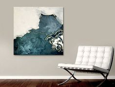 large black and white abstract painting  by linneaheideart on Etsy, $500.00